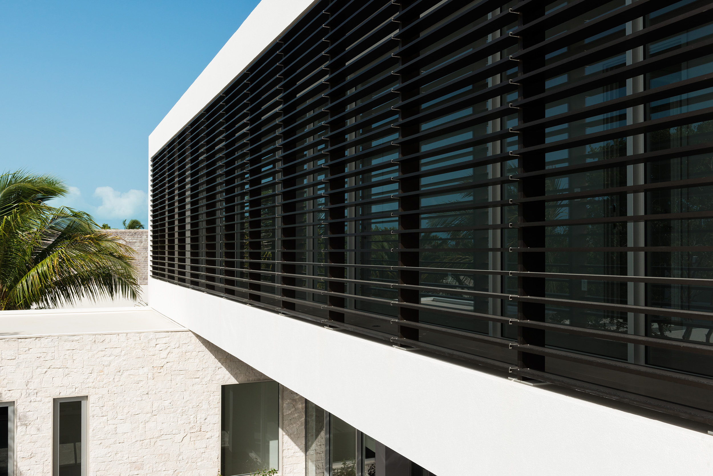 Villa Awa - view of the brise soleil to the front of the villa