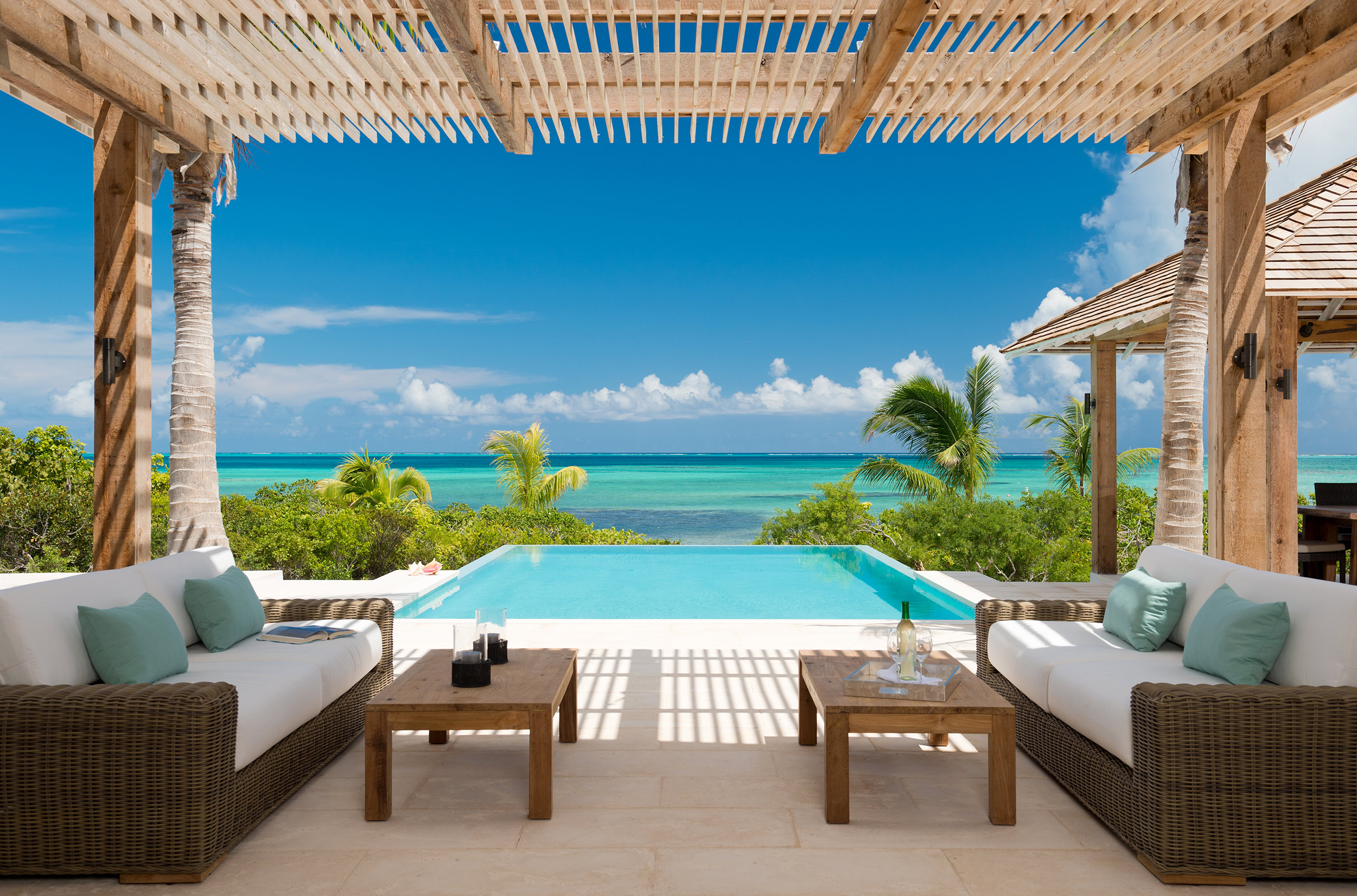 Castaway - view of the outdoor seating area and pool