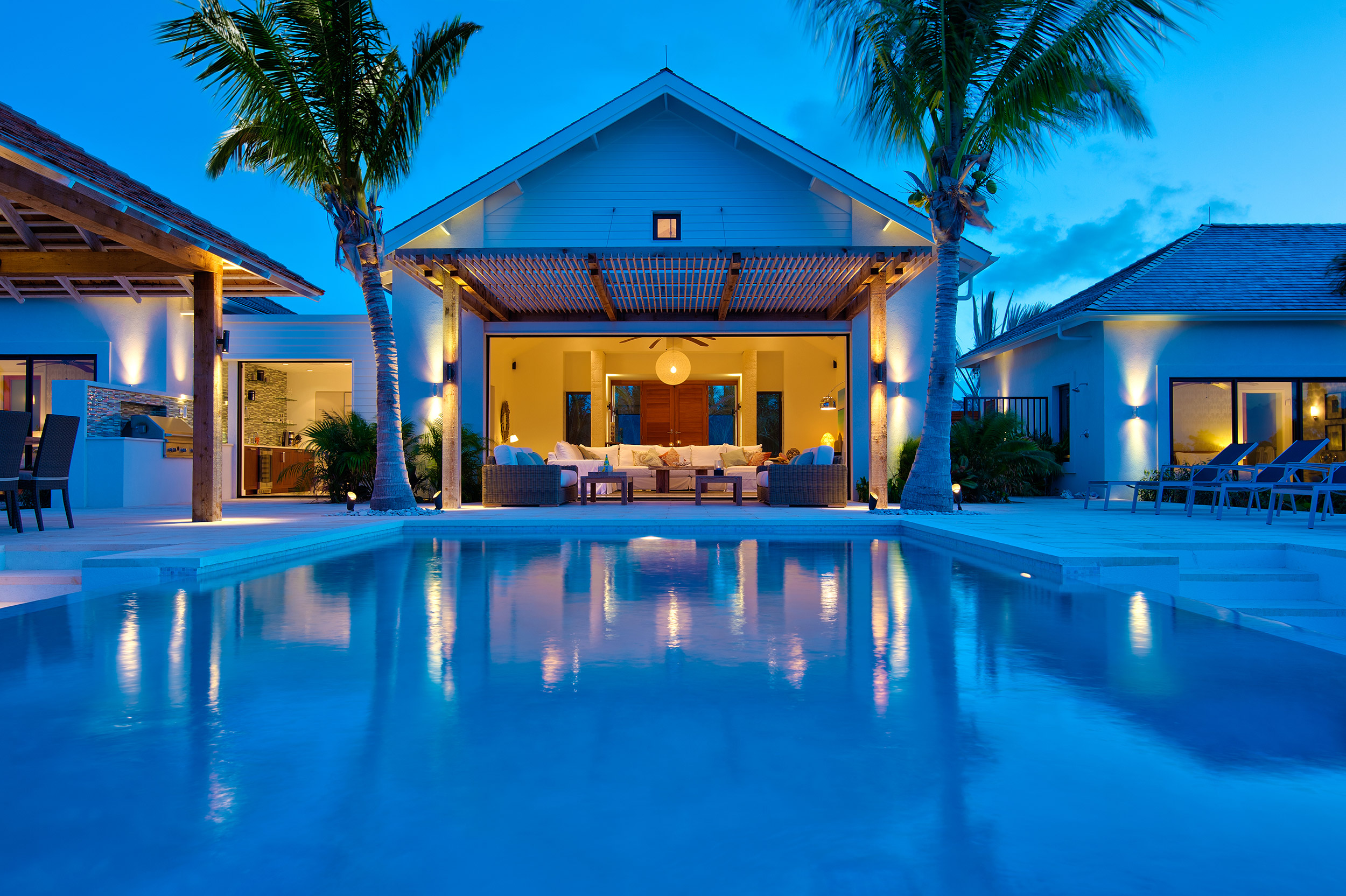 Castaway - evening view of the villa from the pool