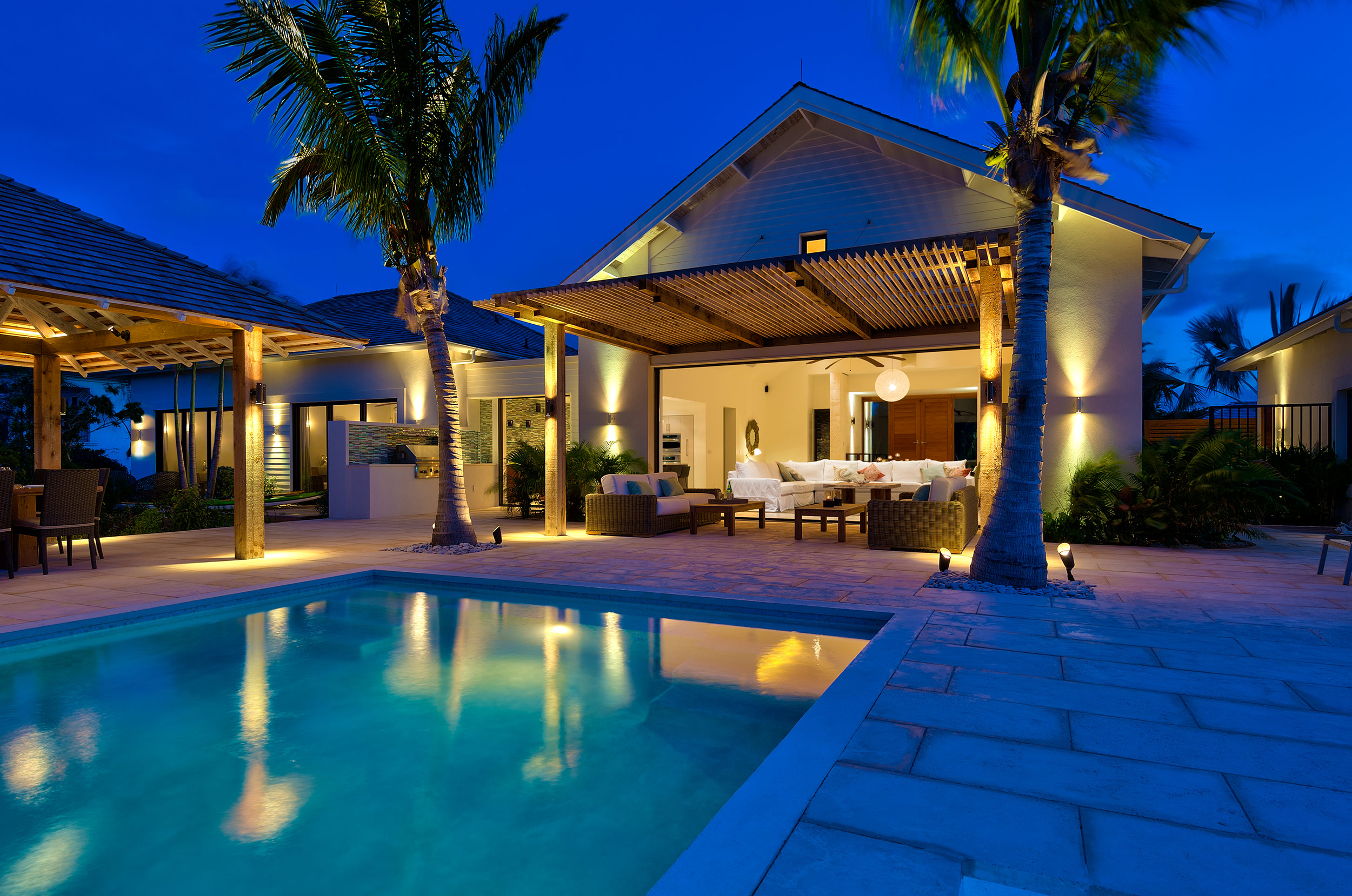 Castaway - evening view of the pool and terrace