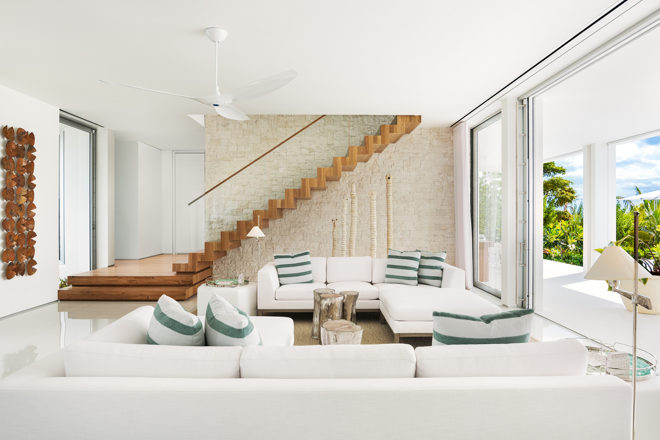 Emerald Pavilion - view of the living area with cantilevered stair