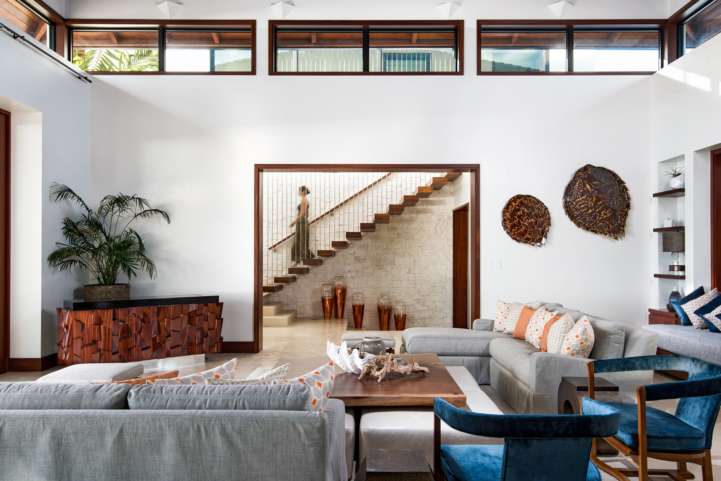 Hawksbill - view of the cantilevered staircase past the living area