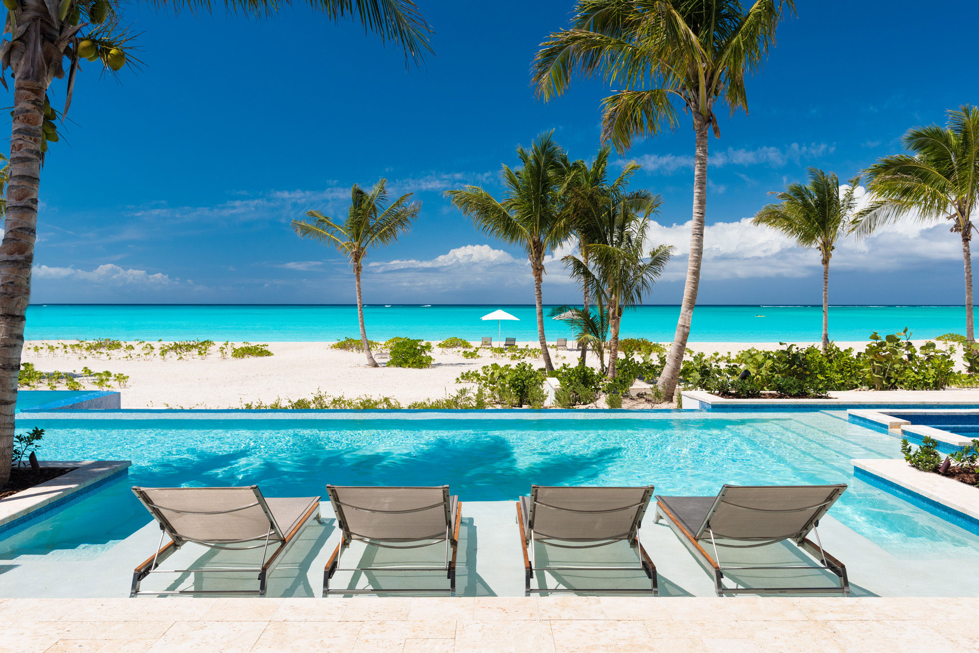 Hawksbill - view of the pool and beach
