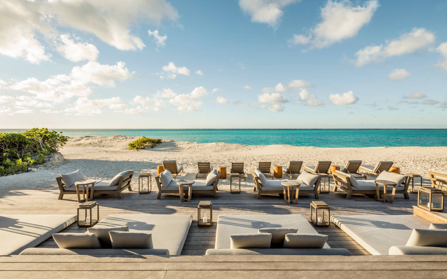 Parrot Cay - view of the beach and daybeds