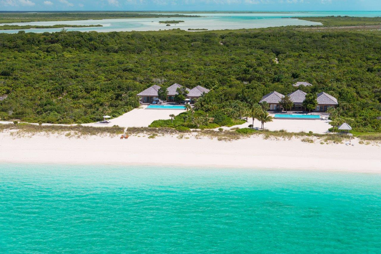 Parrot Cay - aerial view of the villas