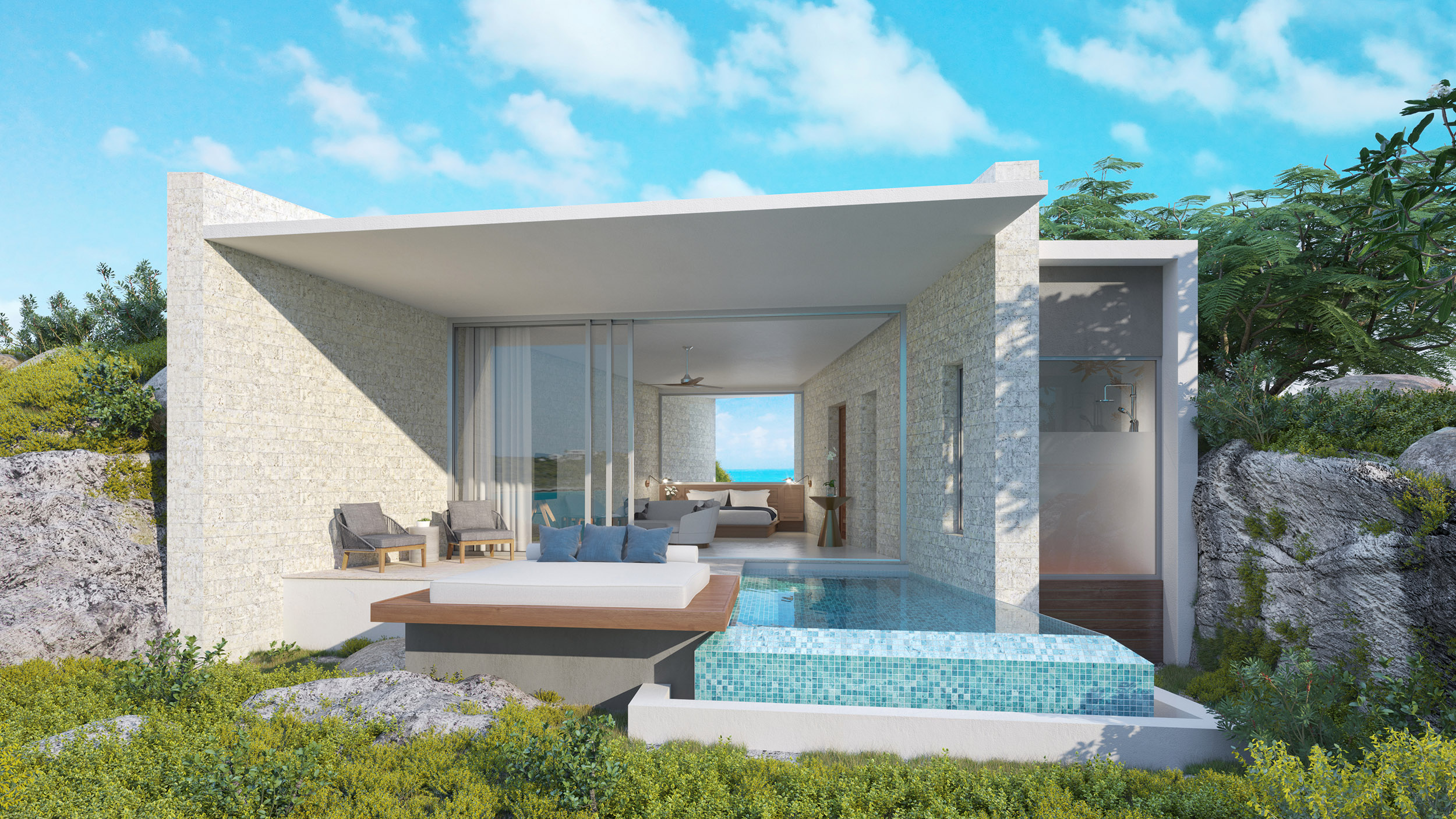 Wymara Villas - computer rendered view of the phase 2 guest houses