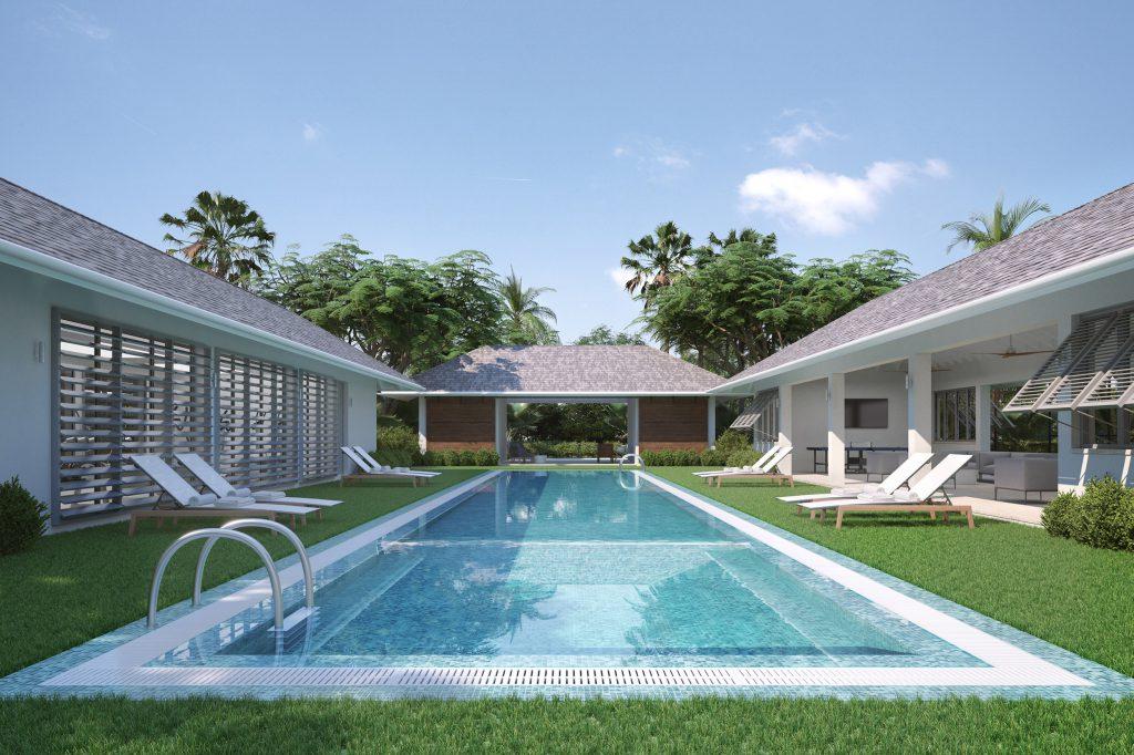 Wymara Villas - computer rendered view of the communal pool