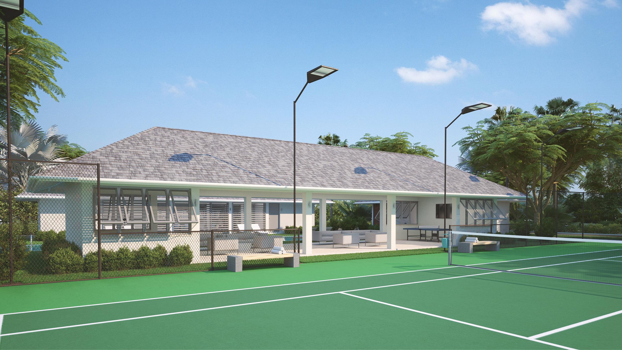 Wymara Villas - computer rendered view of the tennis court