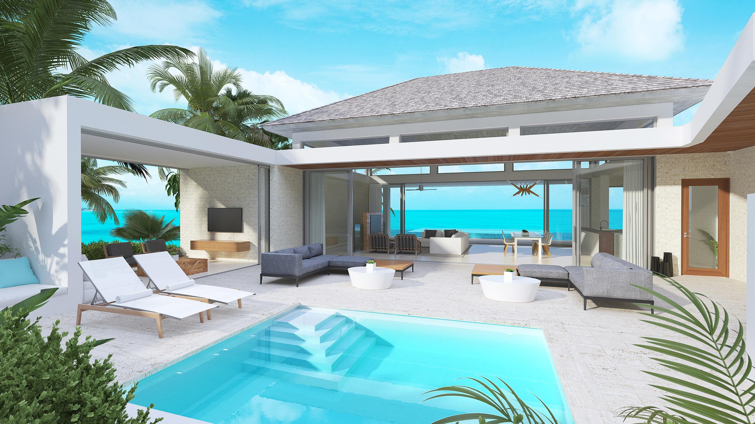 Wymara Villas - computer rendered view of the phase 2 villa courtyard pool
