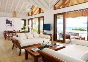 Parrot Cay - view of the living and dining areas