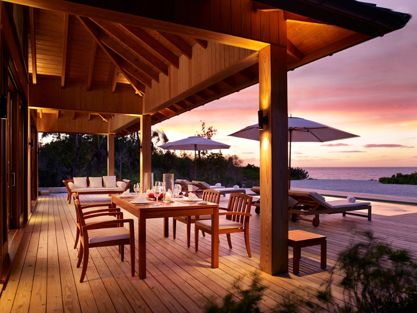 Parrot Cay - evening view of the deck area