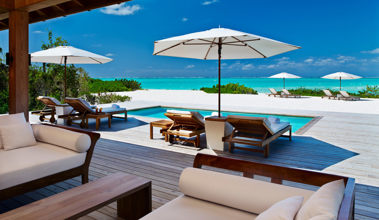 Parrot Cay - view of the deck and pool areas