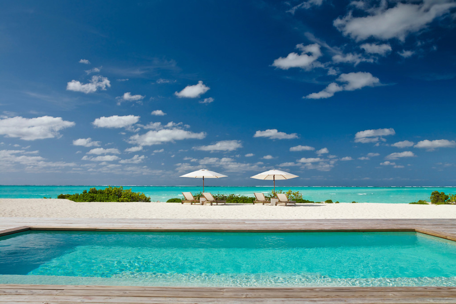 Parrot Cay - view out to sea across the pool and beach