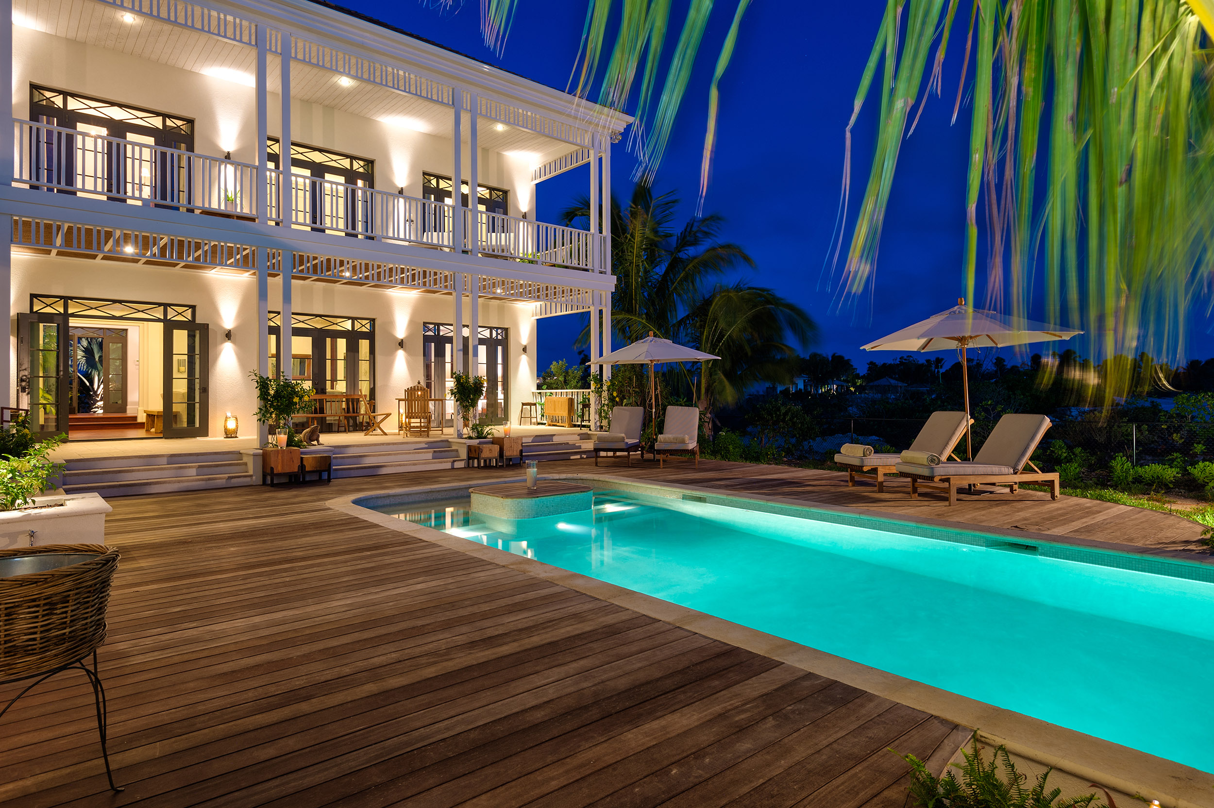 Saving Grace - evening view of the pool and deck areas
