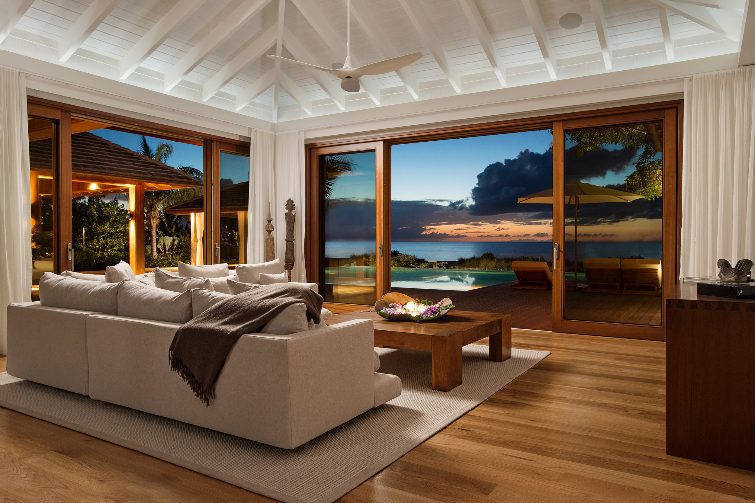 Serenity - evening view of the living area