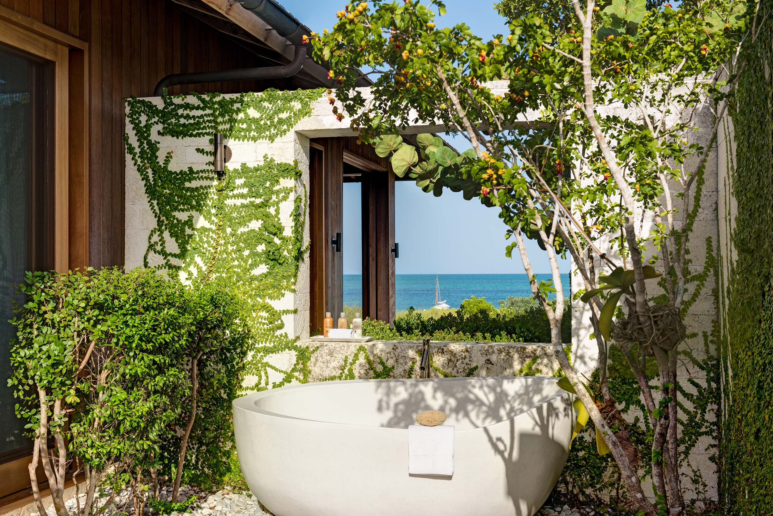 Serenity - view of one of the outdoor bath tubs