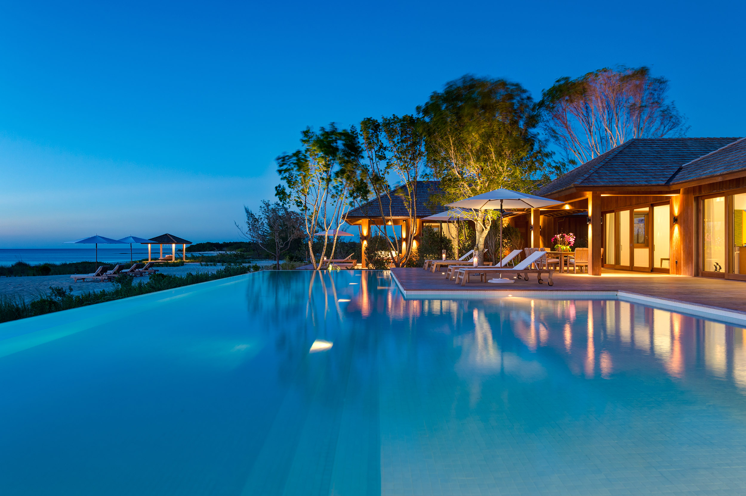 Serenity - evening view across the pool
