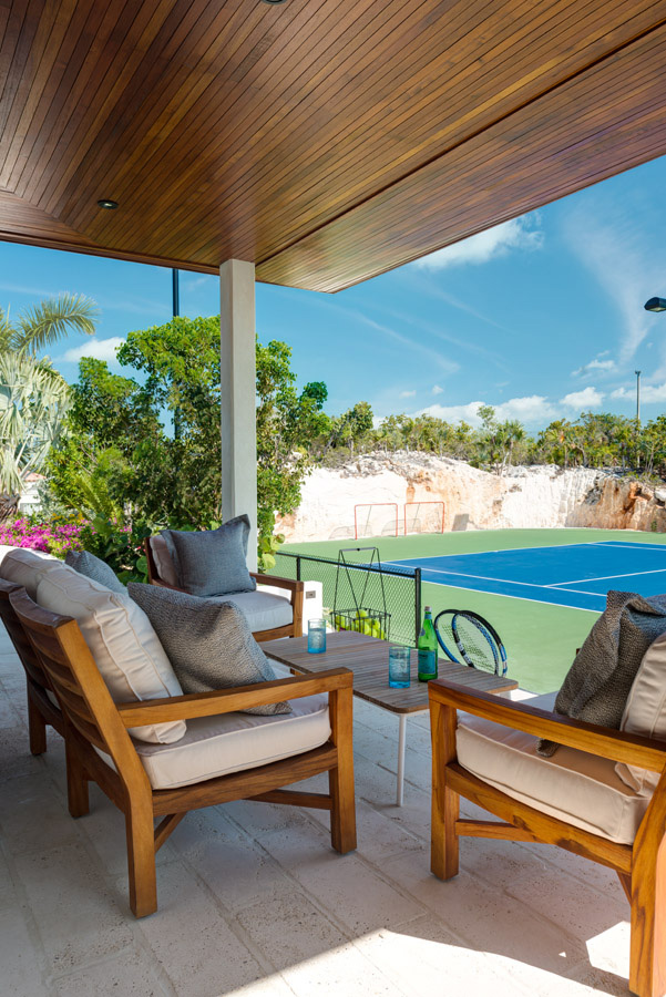 Dream Big Villa - view of the private tennis court from the pavilion