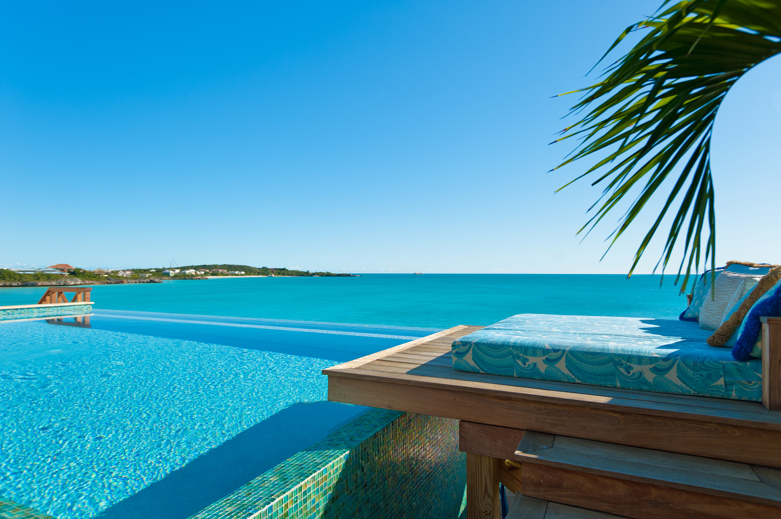 Dream Big Villa - view out to sea from the daybed across the infinity pool
