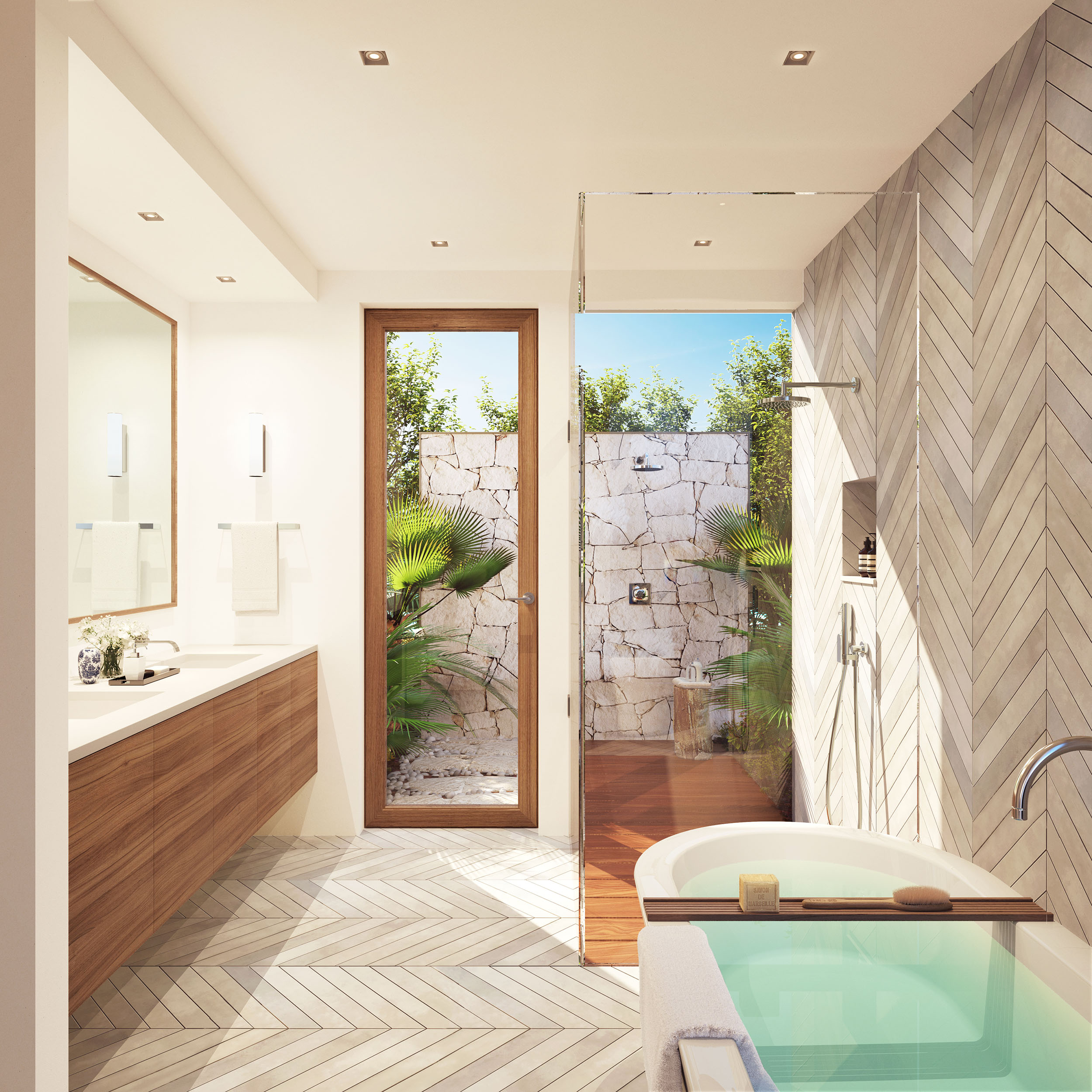 Rock House - rendered view of the bathroom, with external shower area